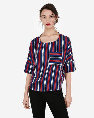 Express Striped Silky Pocket Cocoon Blouse
