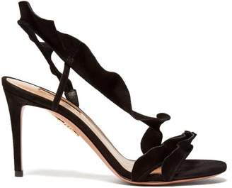 Aquazzura Ruffle 85 Suede Slingback Sandals - Womens - Black