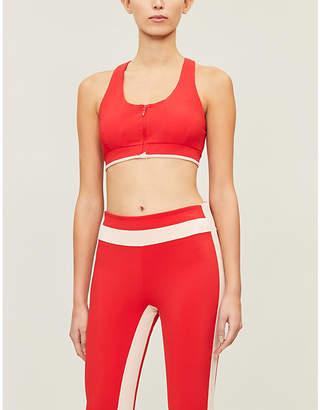 VAARA Red Poudre Stripe Cloe Zip Stretch-Jersey Sports Bra