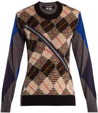 Junya Watanabe Argyle-checked wool-knit sweater