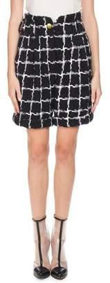 Balmain High-Waist Windowpane Tweed Shorts