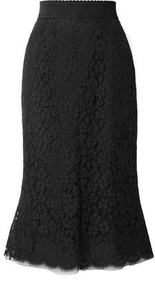 Dolce & Gabbana Cotton-blend Guipure Lace Midi Skirt - Black
