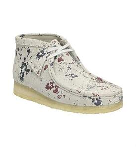 Clarks Wallabee Splatter Paint Suede Boot With Crepe Sole