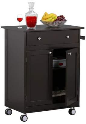Yaheetech Rolling Wood Kitchen Trolley Kitchen Island Cart With Drawer Storage Cabinet, Coffee