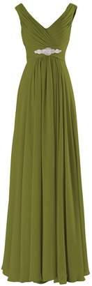 Judy Ellen Women V Neck Long Bridesmaid Dress Evening Gowns J10LF US