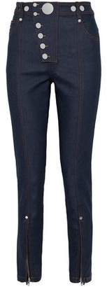 Alexander Wang Button-Detailed Cotton-Blend Skinny Pants