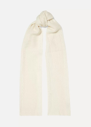 Portolano Cable And Waffle-knit Cashmere Scarf - White