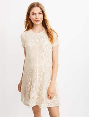 BCBGMAXAZRIA Pea Collection Lace Short Sleeve Maternity Dress