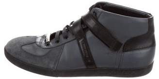Christian Dior Leather & Suede High-Top Sneakers