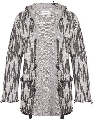Saint Laurent Jacquard-knit hooded cardigan