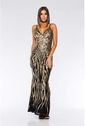 Quiz Black And Gold V Neck Fishtail Maxi Dress