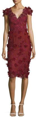 Marchesa V-Neck 3D Petal Sheath Cocktail Dress