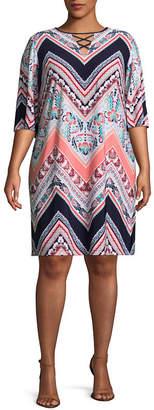 Studio 1 3/4 Sleeve Chevron Print Shift Dress - Plus