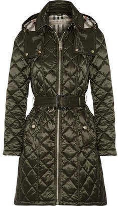 Burberry - Hooded Quilted Shell Jacket - Army green