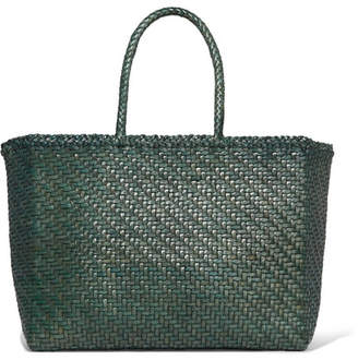 Dragon Optical Diffusion - Basket Big Woven Leather Tote - Green