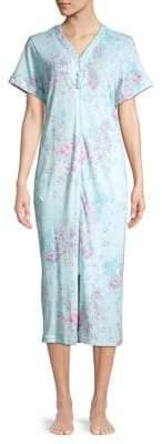 Miss Elaine Floral Zip Front Robe