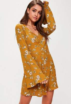 Missguided Yellow Floral Flare Sleeve Button Down Skater Dress