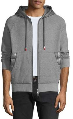 Moncler Men's Zip-Front Hoodie with Puffer Insets