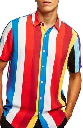 Topman Bright Stripe Short Sleeve Shirt
