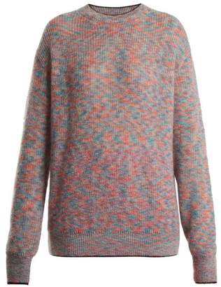 Christopher Kane Crew Neck Mohair Blend Knit Sweater - Womens - Blue Multi