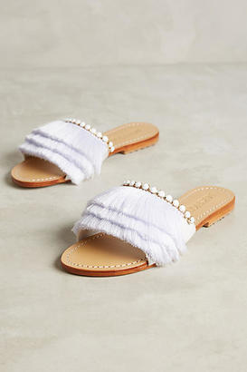 Mystique Fringe Slide Sandals $158 thestylecure.com