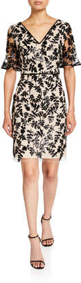 Shani Leaf Embroidered V-Neck Short-Sleeve Sheath Dress