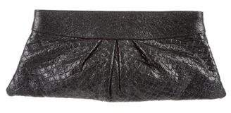 Lauren Merkin Metallic Embossed Clutch