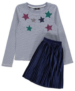 George Navy Striped Seuined Top and Skirt Outfit