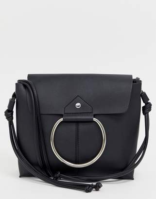 Melie Bianco leather fold over shoulder bag with hardware detail