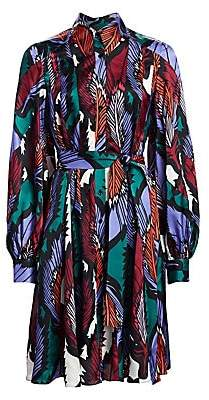 Carolina Herrera Women's Leaf Printed Balloon Sleeve Shirtdress