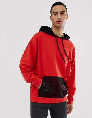 Asos DESIGN Oversized Hoodie In Red With Mesh Panel And Hood