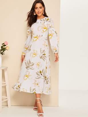 d1b63c7cd2 Shein Floral Print Long Sleeve Dress