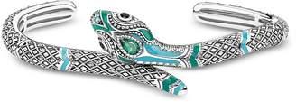 Thomas Sabo Blackened Sterling Silver, Enamel and Glass-ceramic Stones Snake Bangle
