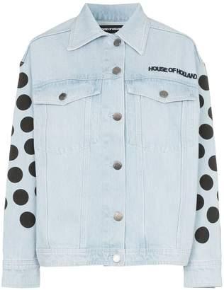 House of Holland polka-dot logo denim jacket