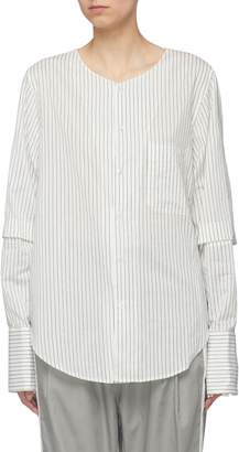 Bassike Button back yoke cutout sleeve stripe shirt