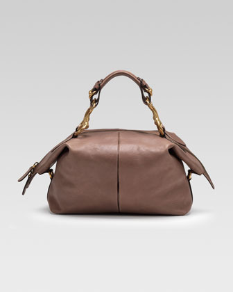 Gucci Soft Icon Leather Top Handle Bag, Pink-Tan