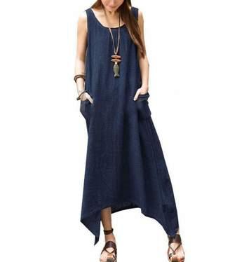 a0854f30229 Lesimsam Women s Sleeveless Pockets Cotton Linen Maxi Dress Casual Loose Plus  Size Irregular Long Dresses (