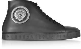 Versace Versus Black Leather Lion High Top Sneakers