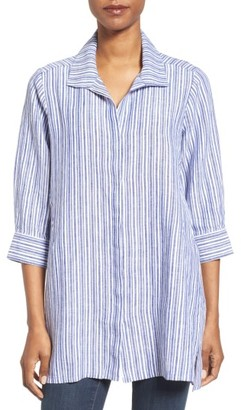 Women's Foxcroft Stripe Linen Tunic $89 thestylecure.com