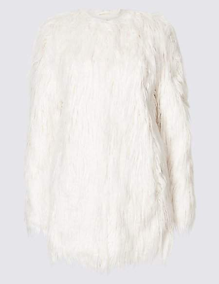 Twiggy for M&S Collection Textured Faux Fur Coat