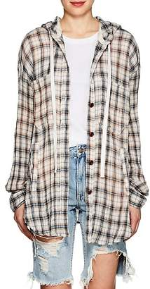 Faith Connexion Women's Plaid Cotton Gauze Hooded Overshirt