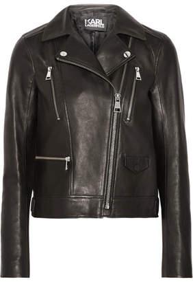 Karl Lagerfeld Ikonik Odina Leather Biker Jacket - Black