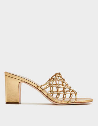 Loeffler Randall Caged Leather Sandal in Gold
