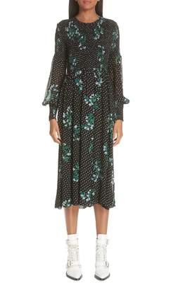 Ganni Rometty Floral Georgette Smocked Dress