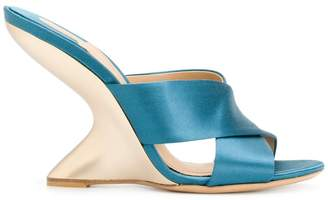 Salvatore Ferragamo crossover wedge mules