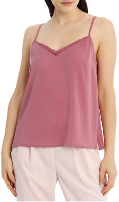 Miss Shop Hammered Lace Trim Cami - Baked Pink TS19214/B