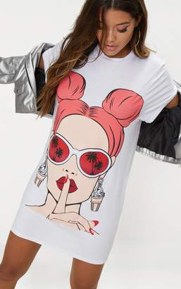 PrettyLittleThing White Sunglasses Face Print T Shirt Dress