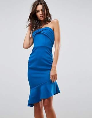 Asos Design Bandeau Ruched Midi Pep Hem Dress