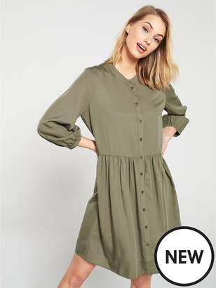 Warehouse Oversized Collarless Dress - Khaki