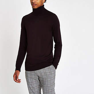 River Island Dark red slim fit roll neck sweater